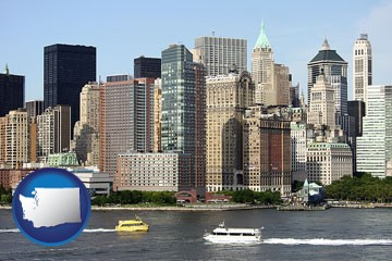 a New York City ferry and water taxi on the Hudson River - with Washington icon
