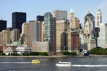 a New York City ferry and water taxi on the Hudson River